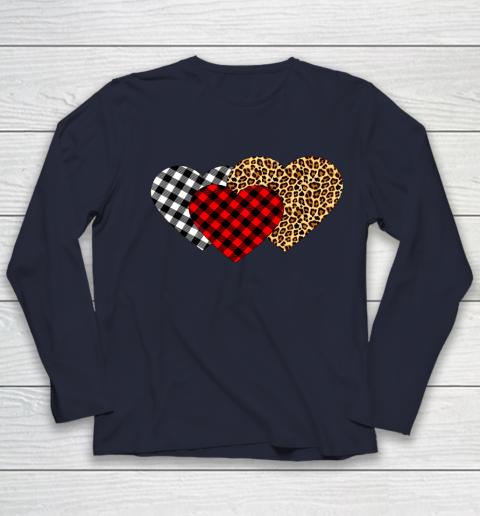 Leopard Heart Buffalo Plaid Heart Valentine Day Youth Long Sleeve 2