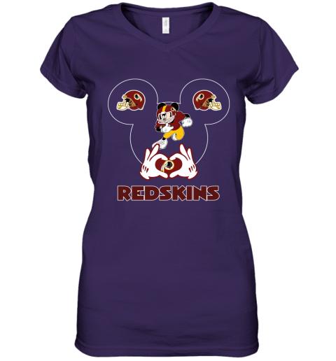 63cr i love the redskins mickey mouse washington redskins women v neck t shirt 39 front purple