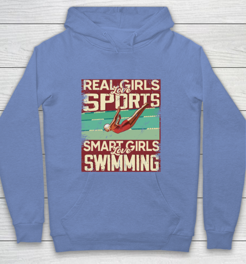 Real girls love sports smart girls love swimming Youth Hoodie 8