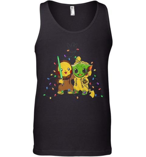 Baby Pikachu And Baby Yoda Merry Christmas Light Tank Top