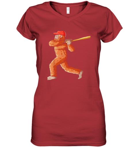 c7nb bigfoot baseball sasquatch playing baseball player women v neck t shirt 39 front red