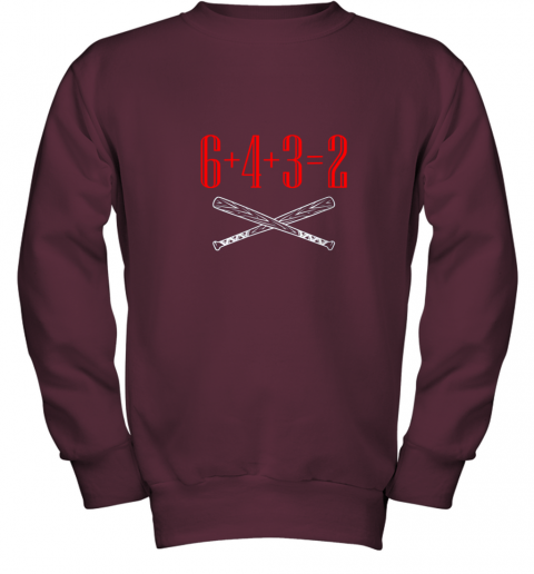 spb4 funny baseball math 6 plus 4 plus 3 equals 2 double play youth sweatshirt 47 front maroon