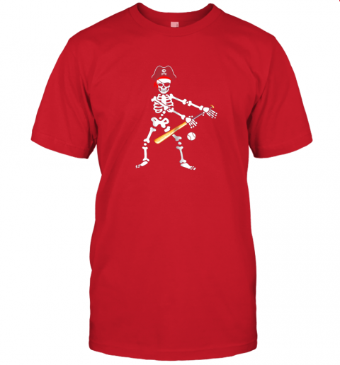 l6qs skeleton pirate floss dance with baseball shirt halloween jersey t shirt 60 front red