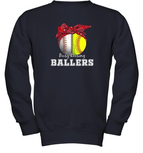 xl9s busy raising ballers softball baseball shirt baseball mom youth sweatshirt 47 front navy