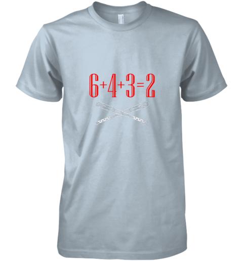 ks75 funny baseball math 6 plus 4 plus 3 equals 2 double play premium guys tee 5 front light blue