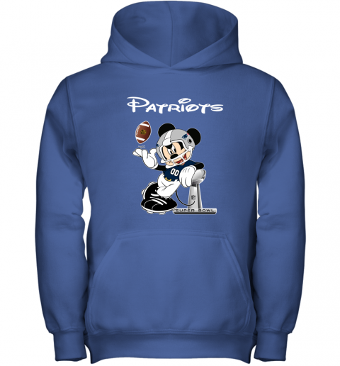 zowm mickey patriots taking the super bowl trophy football youth hoodie 43 front royal
