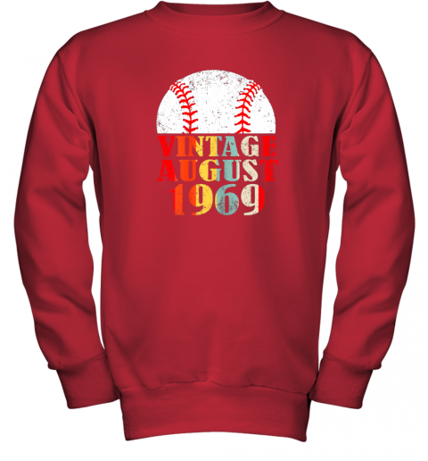 xugo born august 1969 baseball shirt 50th birthday gifts youth sweatshirt 47 front red