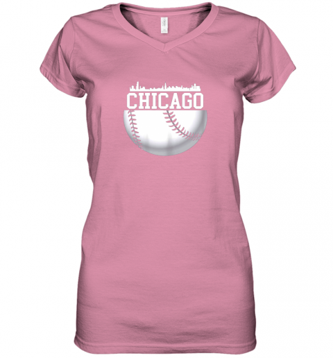 vsrp vintage downtown chicago shirt baseball retro illinois state women v neck t shirt 39 front azalea