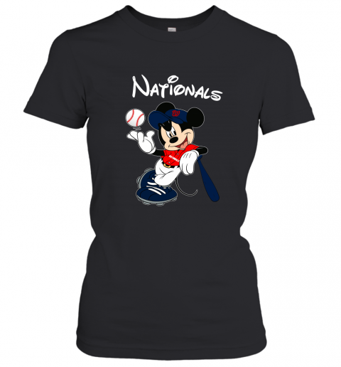 Baseball Mickey Team Washington Nationals Women's T-Shirt