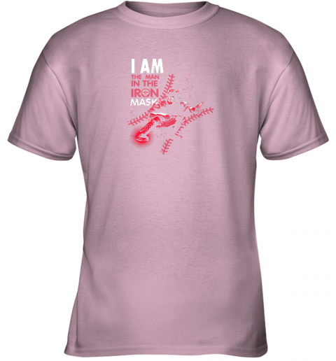 kxct i am the man in the iron mask baseball catcher youth t shirt 26 front light pink