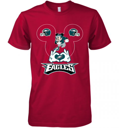 pnya i love the eagles mickey mouse philadelphia eagles premium guys tee 5 front red
