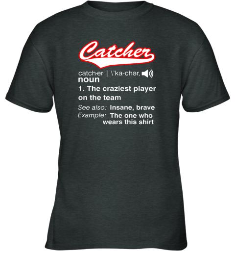 26cz softball baseball catcher shirtvintage funny definition youth t shirt 26 front dark heather
