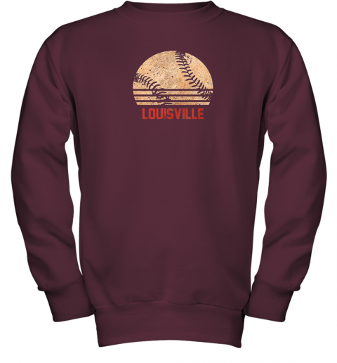 pl13 vintage baseball louisville shirt cool softball gift youth sweatshirt 47 front maroon