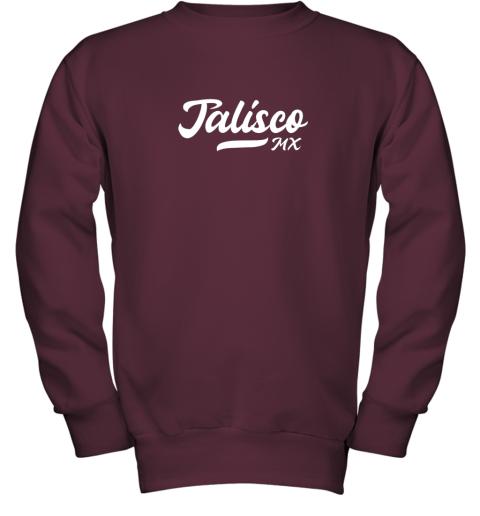 wckj tighe39 s jalisco mx mexico baseball jersey style youth sweatshirt 47 front maroon
