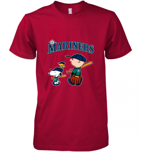 yj8j seatlle mariners lets play baseball together snoopy mlb shirt premium guys tee 5 front red