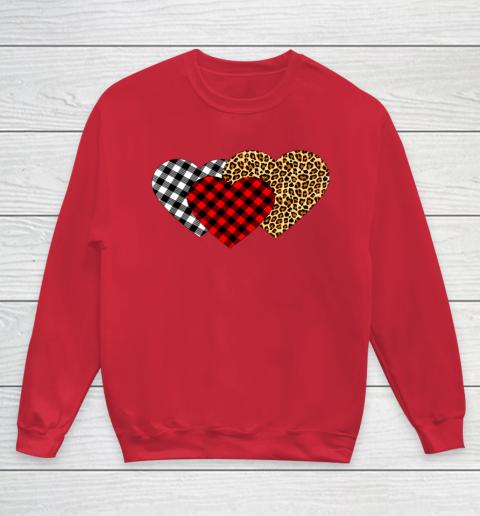 Leopard Heart Buffalo Plaid Heart Valentine Day Youth Sweatshirt 7