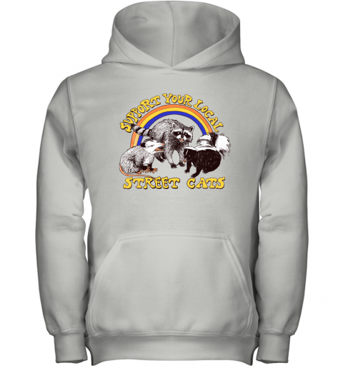 k5j2 support your local street cats trash panda skunk wild animal shirts youth hoodie 43 front white