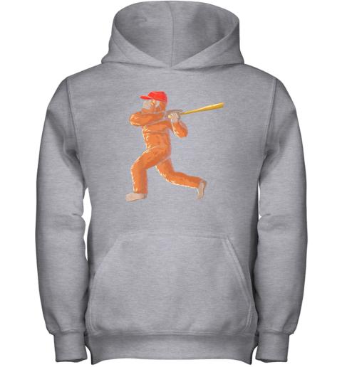 7yi6 bigfoot baseball sasquatch playing baseball player youth hoodie 43 front sport grey