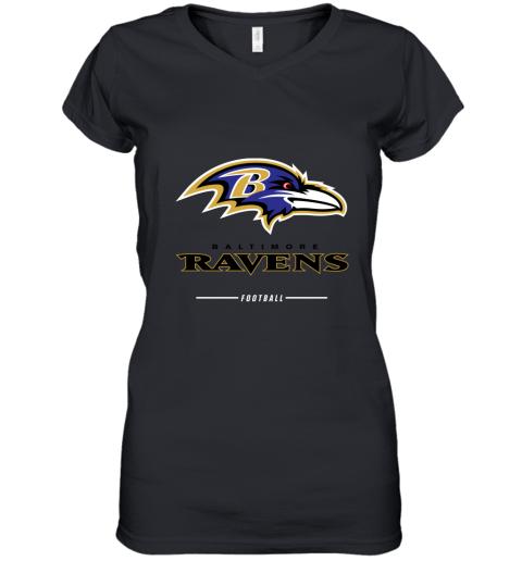 9pfj mens baltimore ravens nfl pro line black team lockup t shirt women v neck t shirt 39 front black