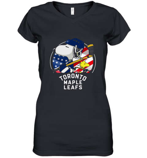 Toronto Mapples Leafs  Snoopy And Woodstock NHL Women's V-Neck T-Shirt