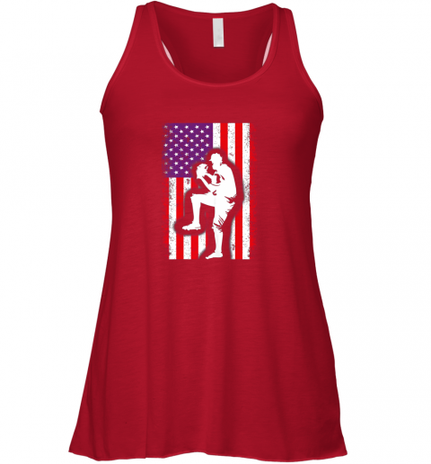 s1ml vintage usa american flag baseball player team gift flowy tank 32 front red