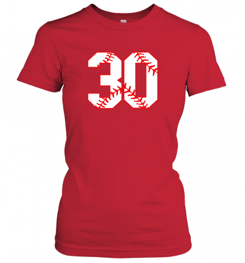 oowm thirtieth birthday party 30th baseball shirt born 1989 ladies t shirt 20 front red
