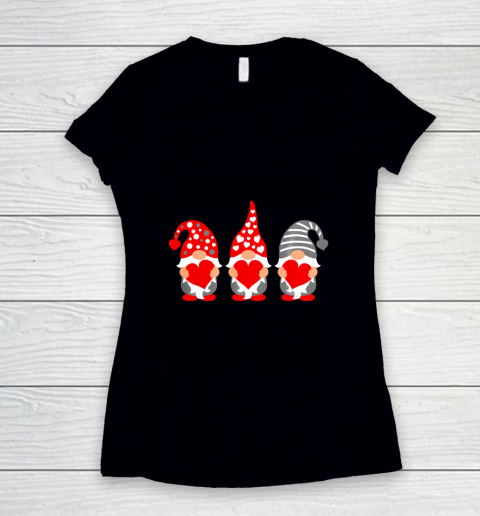 Gnomes Hearts Valentine Day Shirts For Couple Women's V-Neck T-Shirt