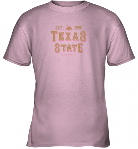 slqo texas state bobcats womens college ncaa youth t shirt 26 front light pink