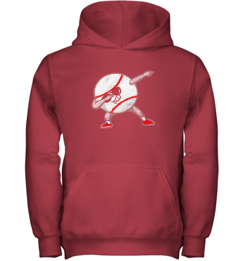y8bt kids funny dabbing baseball player youth shirt cool gift boy youth hoodie 43 front red