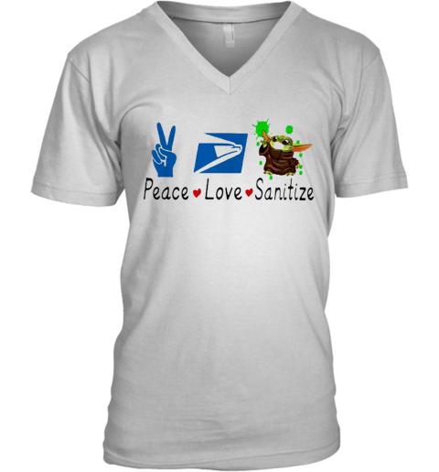 Baby Yoda Peace Love Sanitize United States Postal Service V-Neck T-Shirt