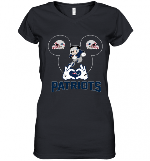 I Love The Patriots Mickey Mouse New England Patriots Women's V-Neck T-Shirt