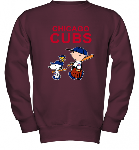 Chicago Cubs Let's Play Baseball Together Snoopy MLB Youth Sweatshirt