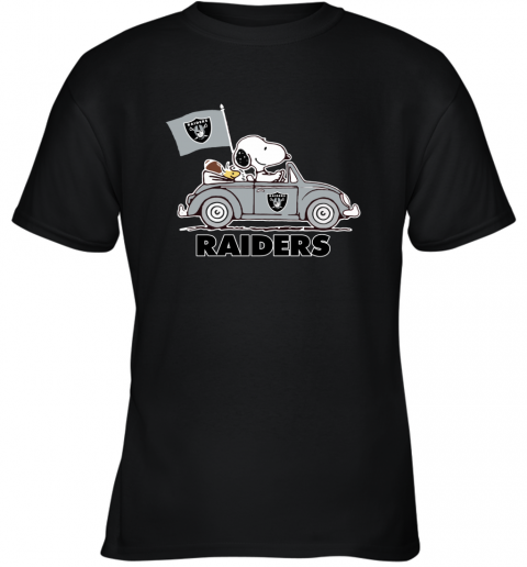 Snoopy And Woodstock Ride The Oakland Raiders Car Youth T-Shirt