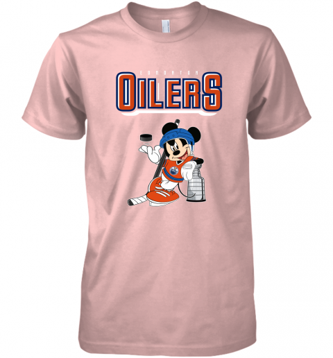ozot mickey edmonton oilers with the stanley cup hockey nhl shirt premium guys tee 5 front light pink