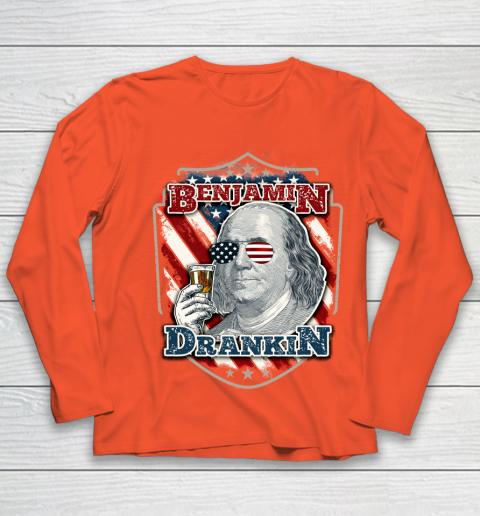 Beer Lover Funny Shirt Benjamin Drankin  Funny and Patriotic 4th of July Independence Day Youth Long Sleeve 3