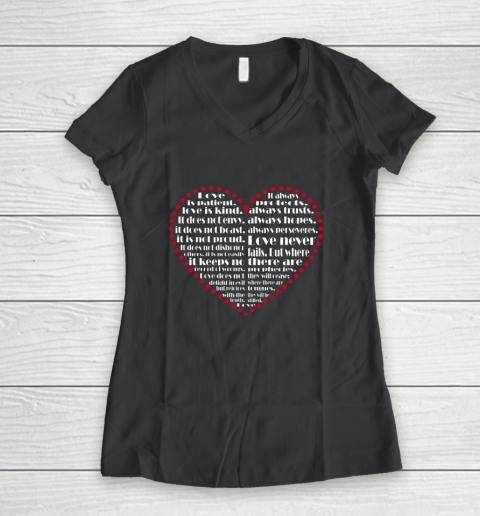 Love is patient love is kind Valentine Hearts Valentines day Women's V-Neck T-Shirt 6