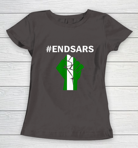 EndSARS End SARS Nigeria Flag Colors Strong Fist Protest Women's T-Shirt 7