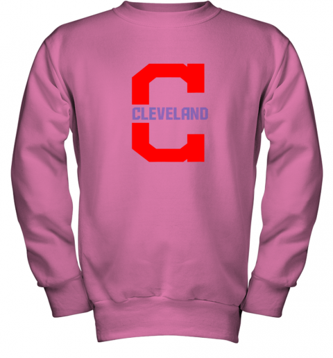 rknk cleveland hometown indian tribe vintage for mlb fans youth sweatshirt 47 front safety pink