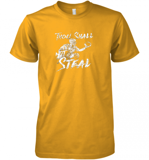 pgq1 thou shall not steal baseball catcher premium guys tee 5 front gold