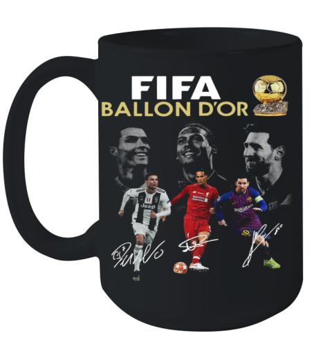 Cristiano Ronaldo Lionel Messi Virgil Van Dijk Fifa Ballon D'Or 2019 Signature Ceramic Mug 15oz