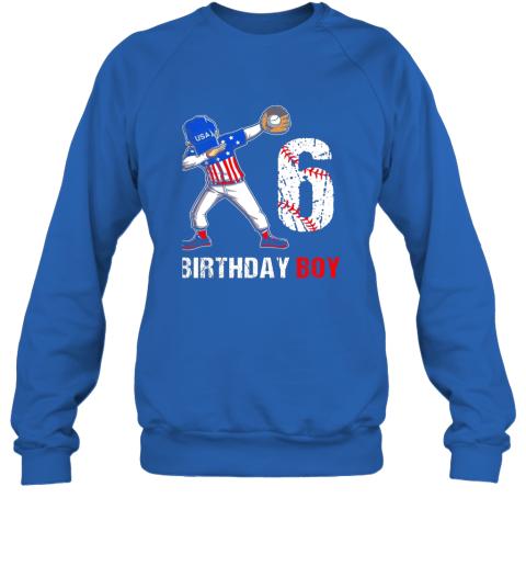 qcpt kids 6 years old 6th birthday baseball dabbing shirt gift party sweatshirt 35 front royal