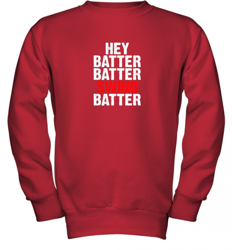 itil hey batter batter swing batter funny baseball youth sweatshirt 47 front red