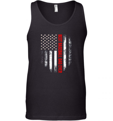 Vintage USA Best Baseball Dad Ever American Flag Daddy Gift Tank Top