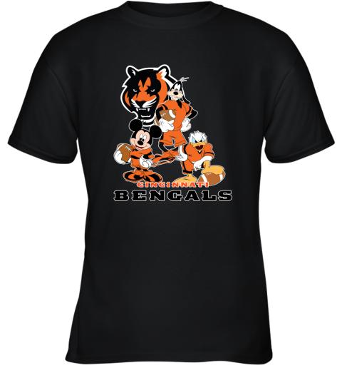 zrvv mickey donald goofy the three cincinnati bengals football shirts youth t shirt 26 front black