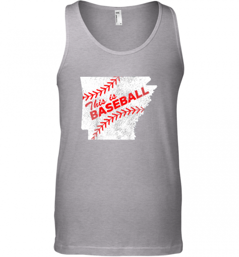 13k1 this is baseball arkansas with red laces unisex tank 17 front sport grey
