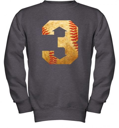 qrkl three up three down baseball 3 up 3 down youth sweatshirt 47 front dark heather