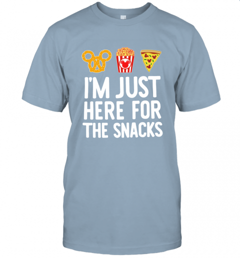 m6nr mickey i am just here for the snacks jersey t shirt 60 front light blue