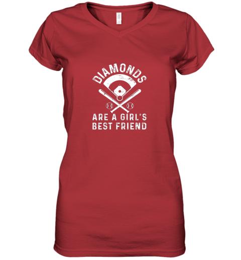 nxj8 diamonds are a girl39 s best friend baseball women v neck t shirt 39 front red