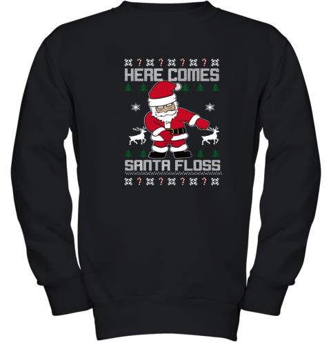 HERE COMES SANTA FLOSS UGLY CHRISTMAS Youth Sweatshirt