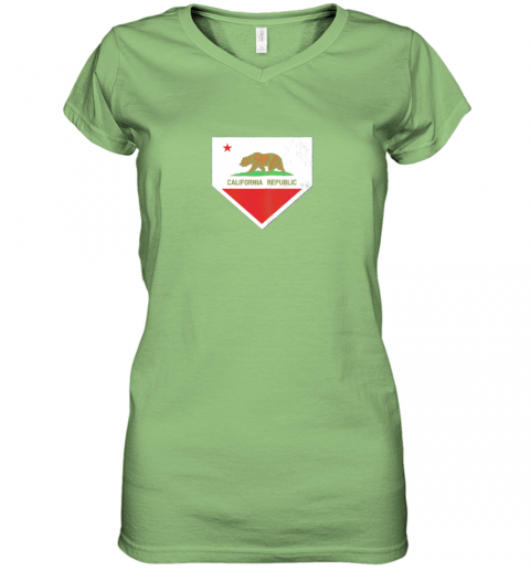 oyo0 vintage baseball home plate with california state flag women v neck t shirt 39 front lime
